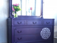 The Perfect Purple Flower Stenciled Dresser