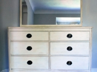 Mahogany dresser in white with heavy antiquing