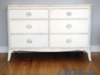 mahogany dresser with gentle distressing