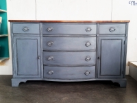 Solid Mahogany Buffet with Refinished Wood Top