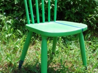 Racing Stripey Green Chair with dipper legs