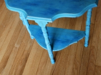 Half-moon table in Provence with blue & white dry brushing