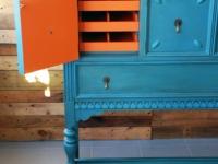 Custom blue Chalk Paint with Barcelona Orange inside