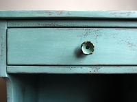 Distressed side table with Anthropologie knob