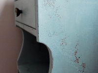 Distressed side table in Duck Egg Blue