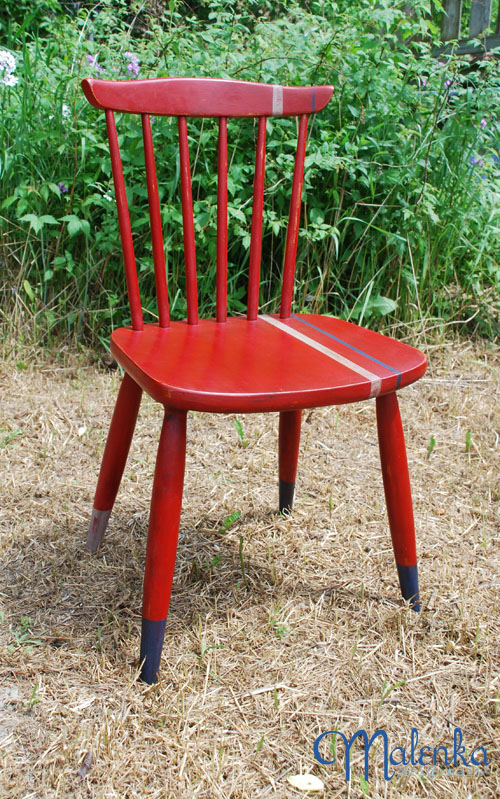 Red chair with racing stripes