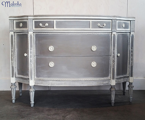 French Linen and Old White Credenza