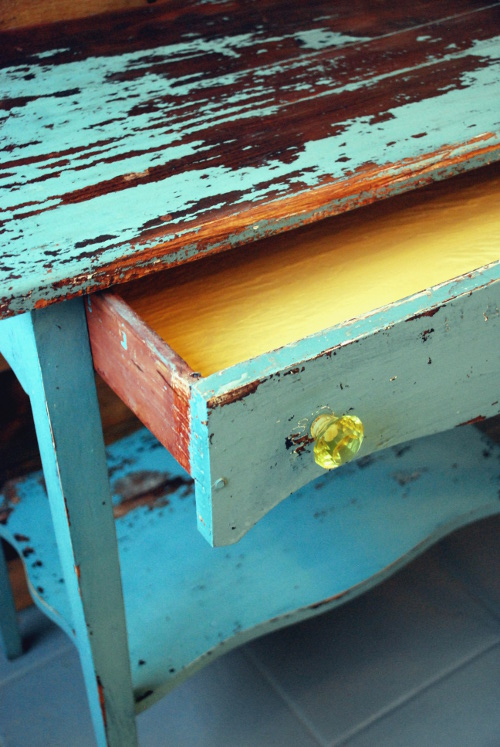 Pop of Annie Sloan's Arles in drawer with new yellow crystal knobs