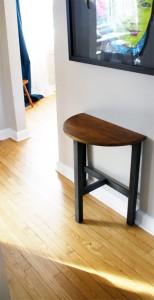Industrial-style oak half-moon table