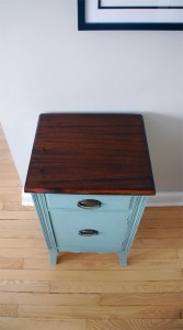 View from top of duck egg blue bedside table