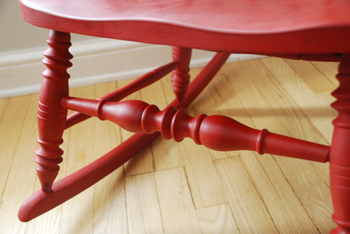 Red Rocker turned legs
