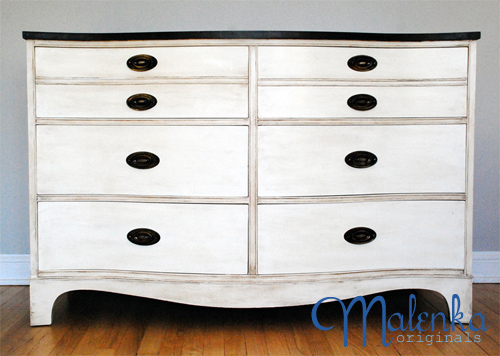 Bow front dresser in Old White