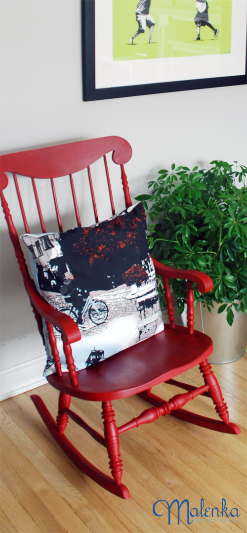Red rocker in a more modern setting