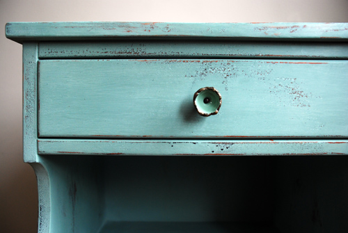 Duck Egg Blue side table hardware