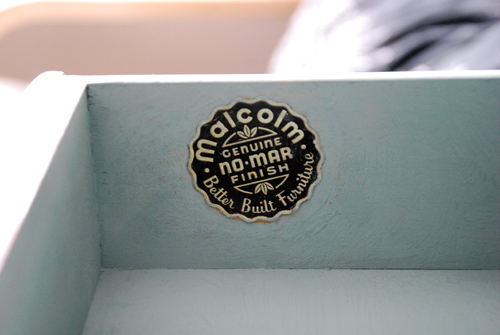 Love the retro Malcolm Furniture Company sticker