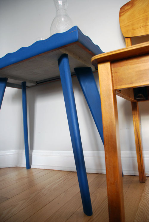 Retro blue table underneath in grey