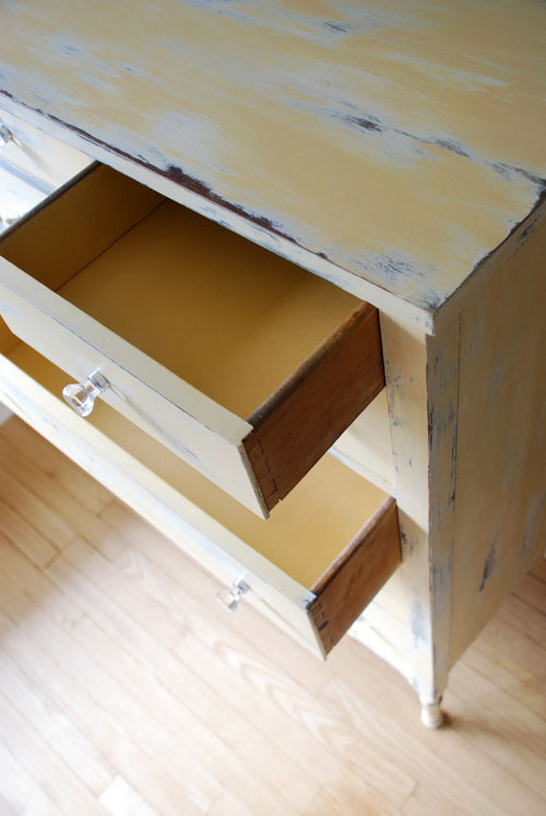 Yellow inside the drawers