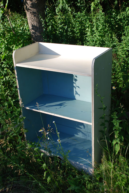 Adorable bookshelf that I dragged into the wild