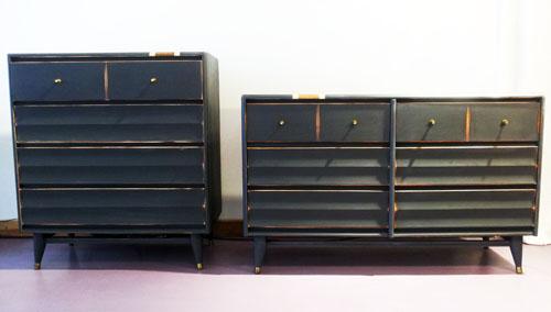 Mid-century dresser set in Annie Sloan's Graphite