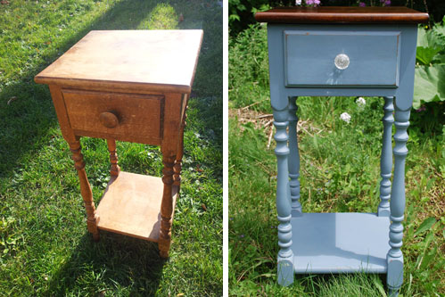 Milk Painted side table before and after