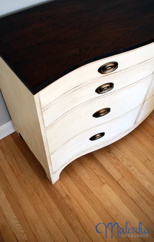 Beautiful bow front dresser in Old White
