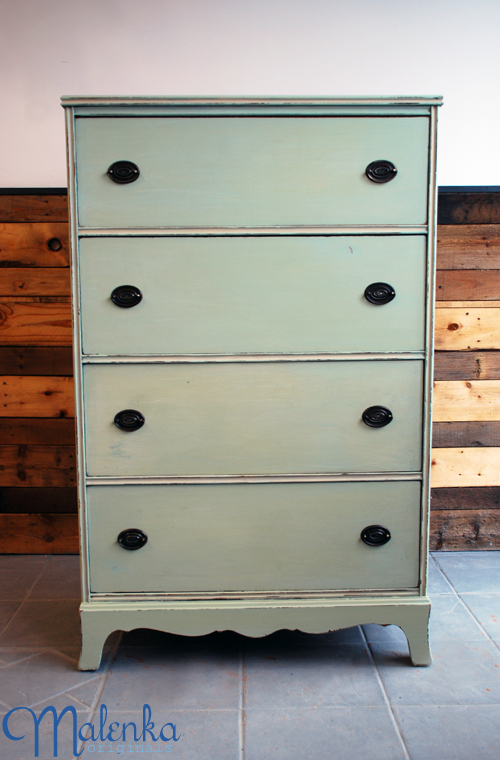 Mint green dresser in Miss Mustard Seed milk paint