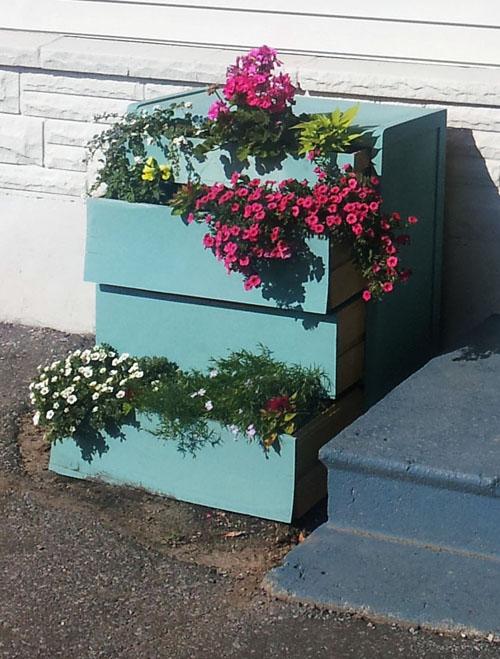 Dresser turned flower planter at Malenka Originals