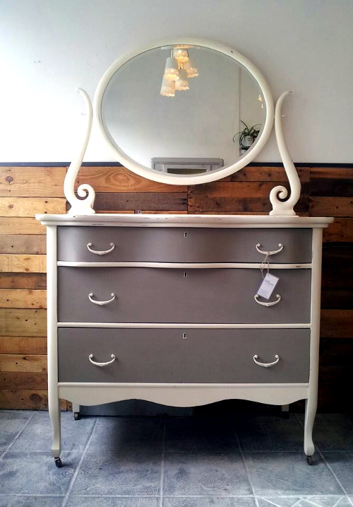 Antique dresser in Old White and French Linen