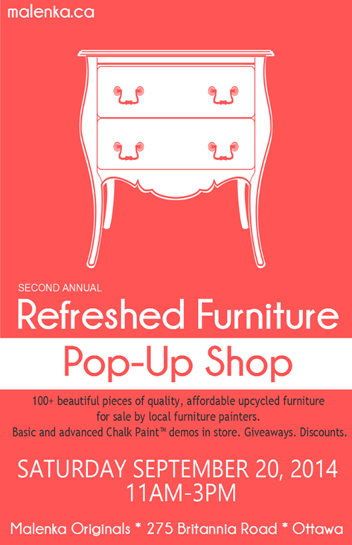 Second Annual Refreshed Furniture Pop-Up Shop at Malenka Originals