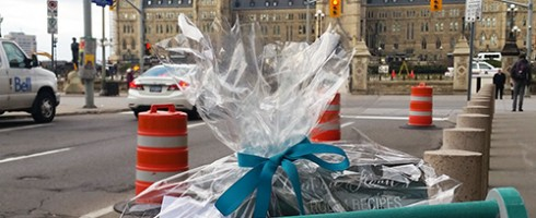 Dropping off a gift to the Prime Minister of Canada